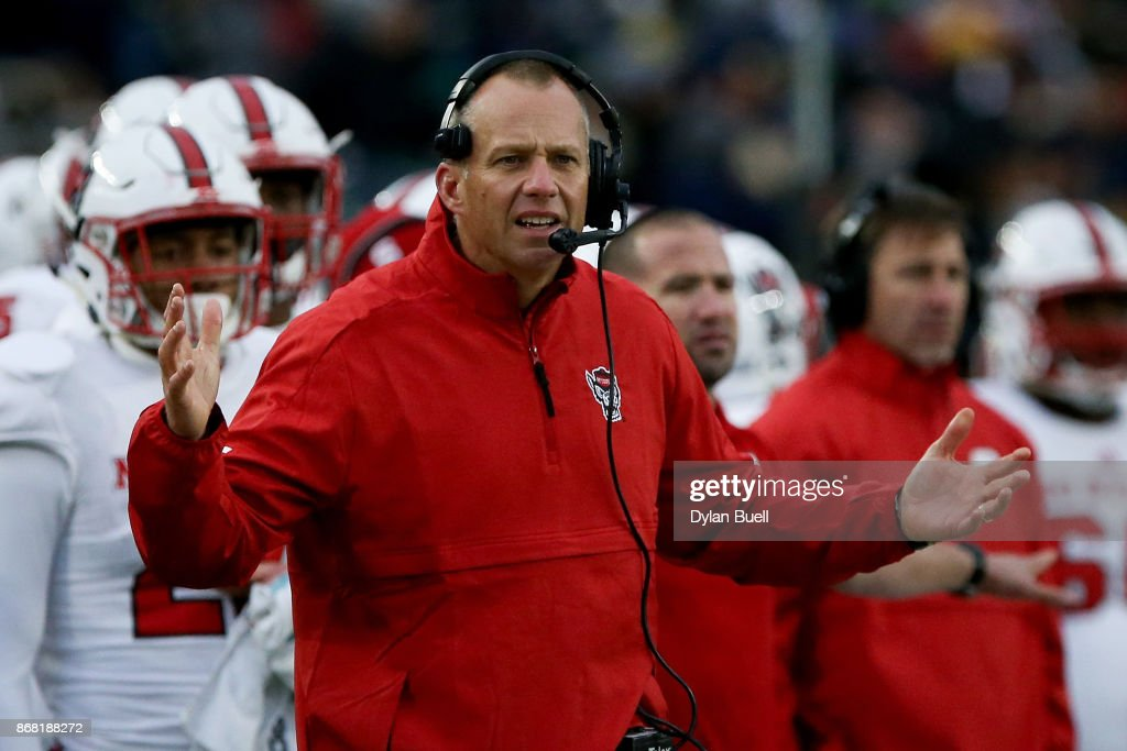 Head coach Dave Doeren of the North Carolina State Wolfpack reacts in the second quarter against the Notre Dame Fighting Irish at Notre Dame Stadium on October 28, 2017 in South Bend, Indiana.