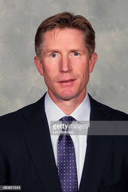Head coach Dave Hakstol of the Philadelphia Flyers poses for his official headshot for the 20152016 season prior to his game against the New York...