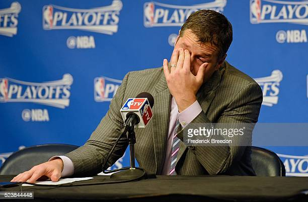 Head coach Dave Joerger of the Memphis Grizzlies wipes his eyes during the post game press conference after a 11695 San Antonio victory over Memphis...