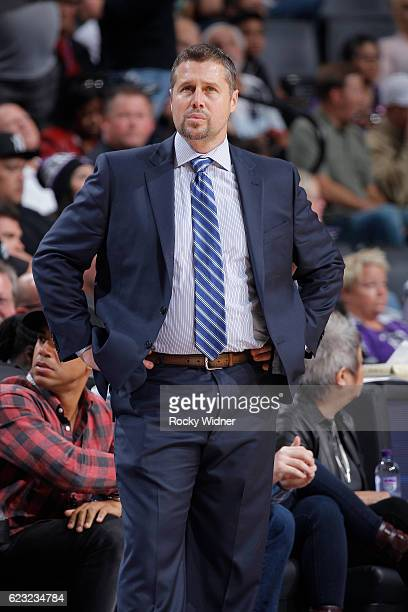 Head coach Dave Joerger of the Sacramento Kings coaches against the New Orleans Pelicans on November 8 2016 at Golden 1 Center in Sacramento...