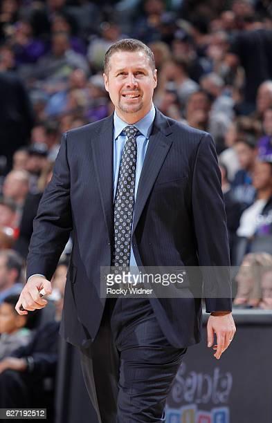 Head coach Dave Joerger of the Sacramento Kings coaches against the Oklahoma City Thunder on November 23 2016 at Golden 1 Center in Sacramento...