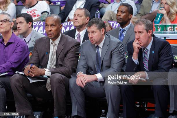 Head coach Dave Joerger of the Sacramento Kings coaches against the Phoenix Suns on April 11 2017 at Golden 1 Center in Sacramento California NOTE TO...