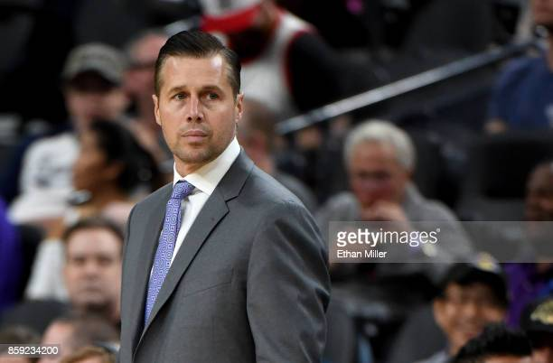 Head coach Dave Joerger of the Sacramento Kings looks on during a preseason game against the Los Angeles Lakers at TMobile Arena on October 8 2017 in...