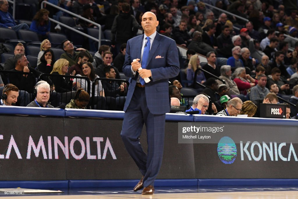 Head coach Dave Leitao of the DePaul Blue Demons looks on during a college basketball game against the Providence Friars at Wintrust Arena on January 12, 2018 in Chicago, Illinois. The Friars won 71-64.