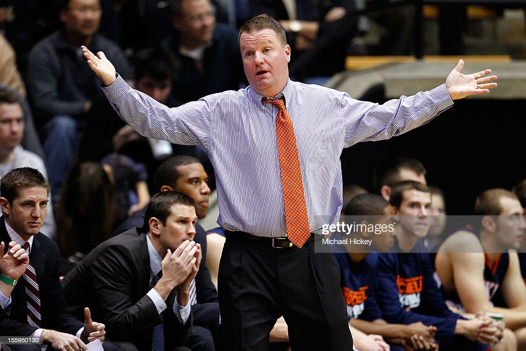 Head coach Dave Paulsen of the Bucknell Bison protests a call against the Purdue Boilermakers at Mackey Arena on November 9, 2012 in West Lafayette, Indiana. Bucknell defeated Purdue 70- 65.