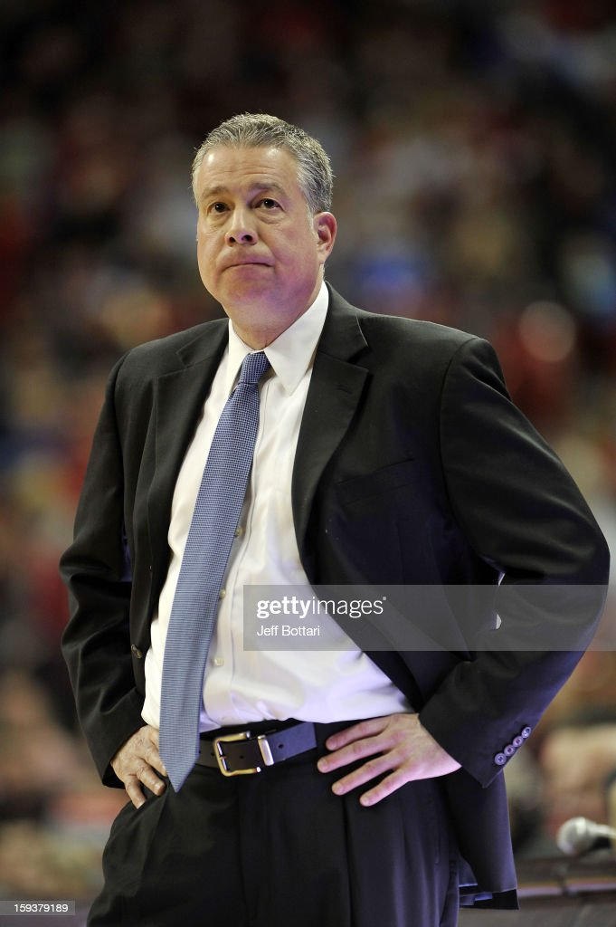 Head Coach Dave Pilipovich of the Air Force Falcons looks at the scoreboard during the game against the UNLV Rebels at the Thomas & Mack Center on January 12, 2013 in Las Vegas, Nevada. The Rebels won 76-71.