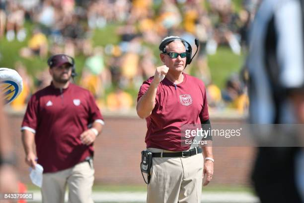 Head coach Dave Steckel of the Missouri State Bears celebrates a players touchdown against the Missouri Tigers at Memorial Stadium on September 2...
