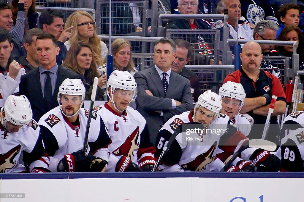 Head Coach Dave Tippet of the Arizona Coyotes watches as his players take on the Columbus Blue Jackets on November 14 2015 at Nationwide Arena in...