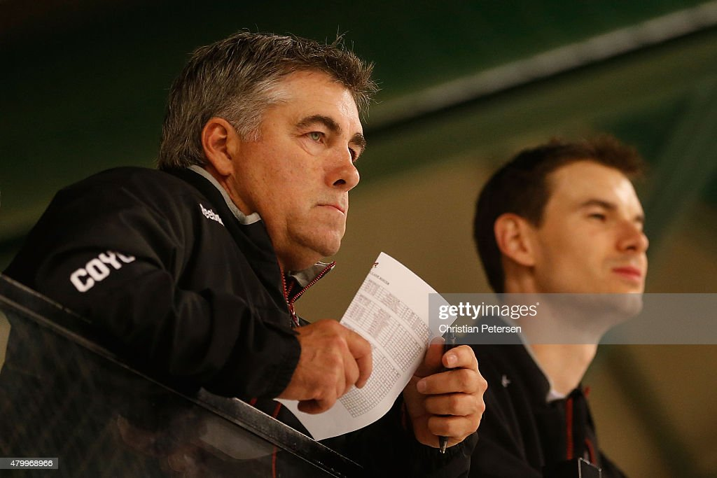 Head coach Dave Tippett and Assistant General Manager/Analytics John Chayka of the Arizona Coyotes watch the prospect development camp at the Ice Den...