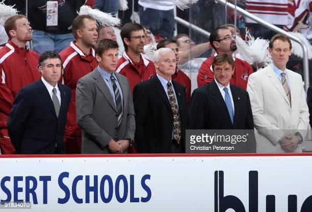 Head coach Dave Tippett coach Ulf Samuelsson coach Dave King coach Doug Sulliman and goaltending coach Sean Burke of the Phoenix Coyotes line up...