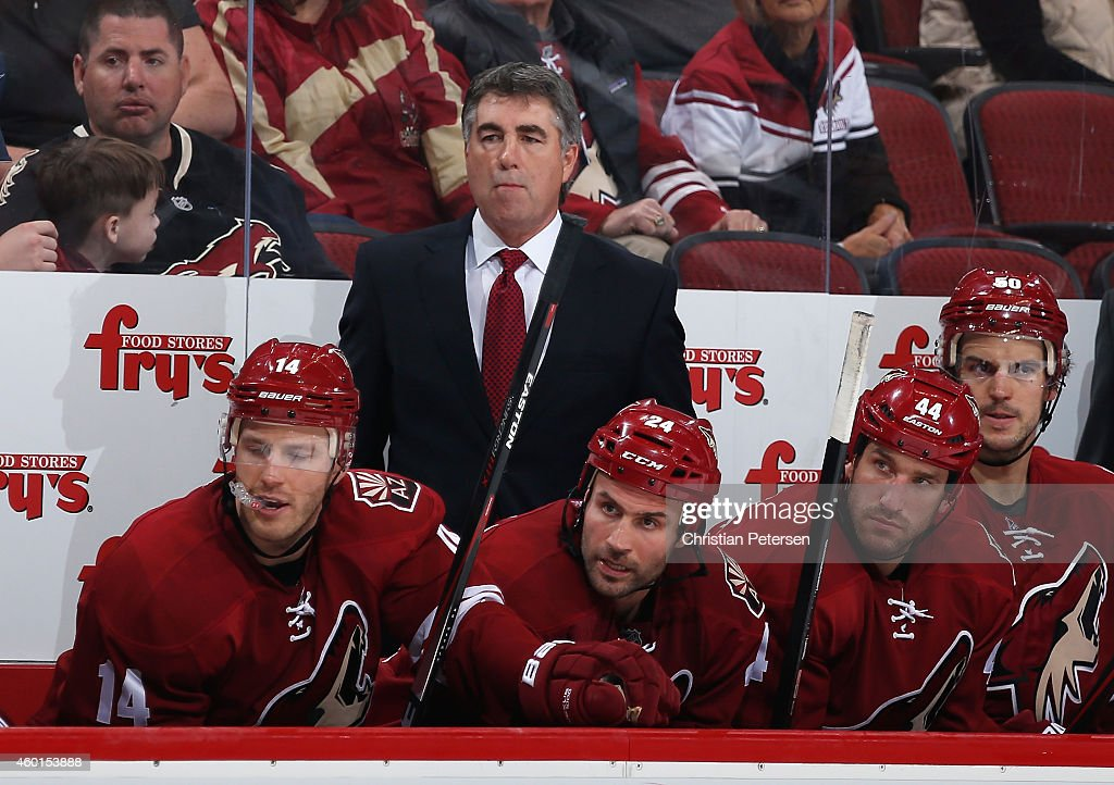 Head coach Dave Tippett of the Arizona Coyotes during the NHL game against the Los Angeles Kings at Gila River Arena on December 4 2014 in Glendale...