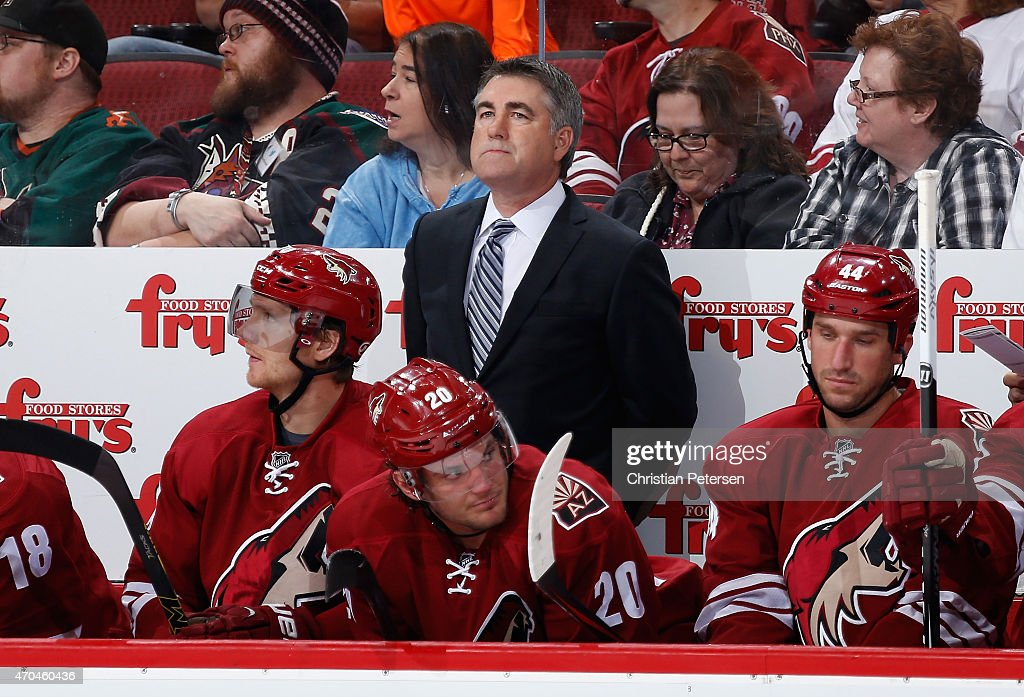Head coach Dave Tippett of the Arizona Coyotes during the NHL game against the Anaheim Ducks at Gila River Arena on April 11 2015 in Glendale Arizona