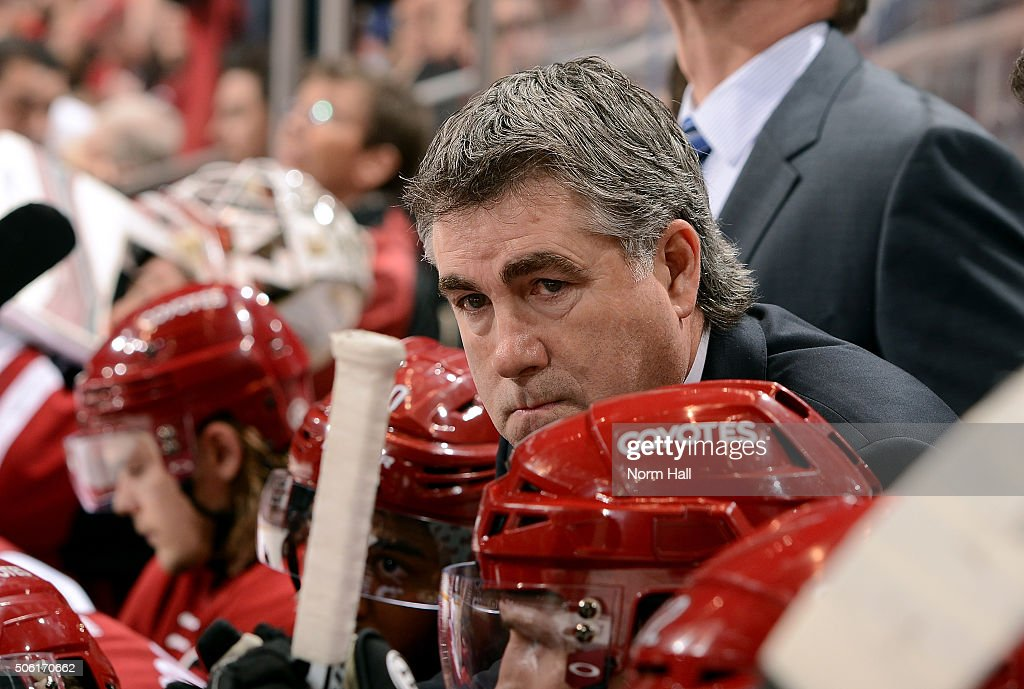 Head coach Dave Tippett of the Arizona Coyotes looks on from the bench during third period action against the San Jose Sharks at Gila River Arena on...