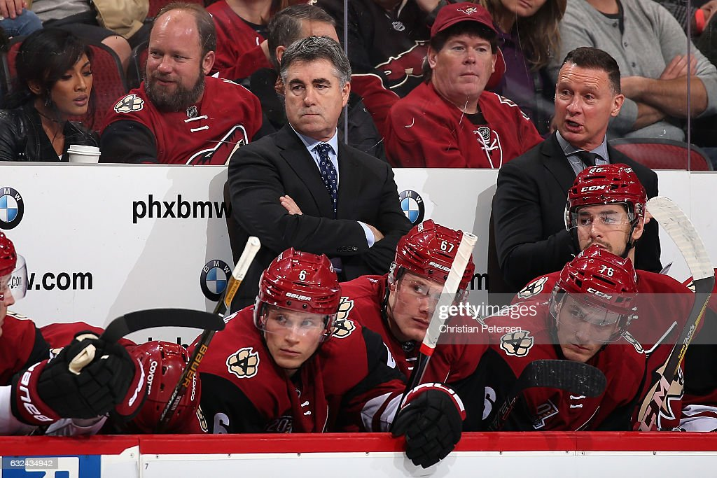 Head coach Dave Tippett of the Arizona Coyotes reacts on the bench during the third period of the NHL game against the Anaheim Ducks at Gila River Arena on January 14, 2017 in Glendale, Arizona. The Ducks defeated the Coyotes 3-0.