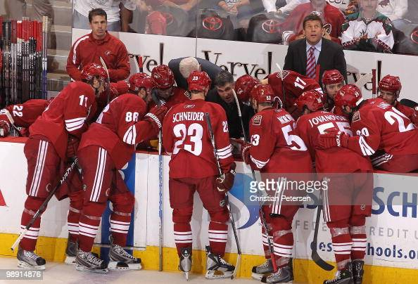 Head coach Dave Tippett of the Phoenix Coyotes coaches in Game Seven of the Western Conference Quarterfinals against the Detroit Red Wings during the...