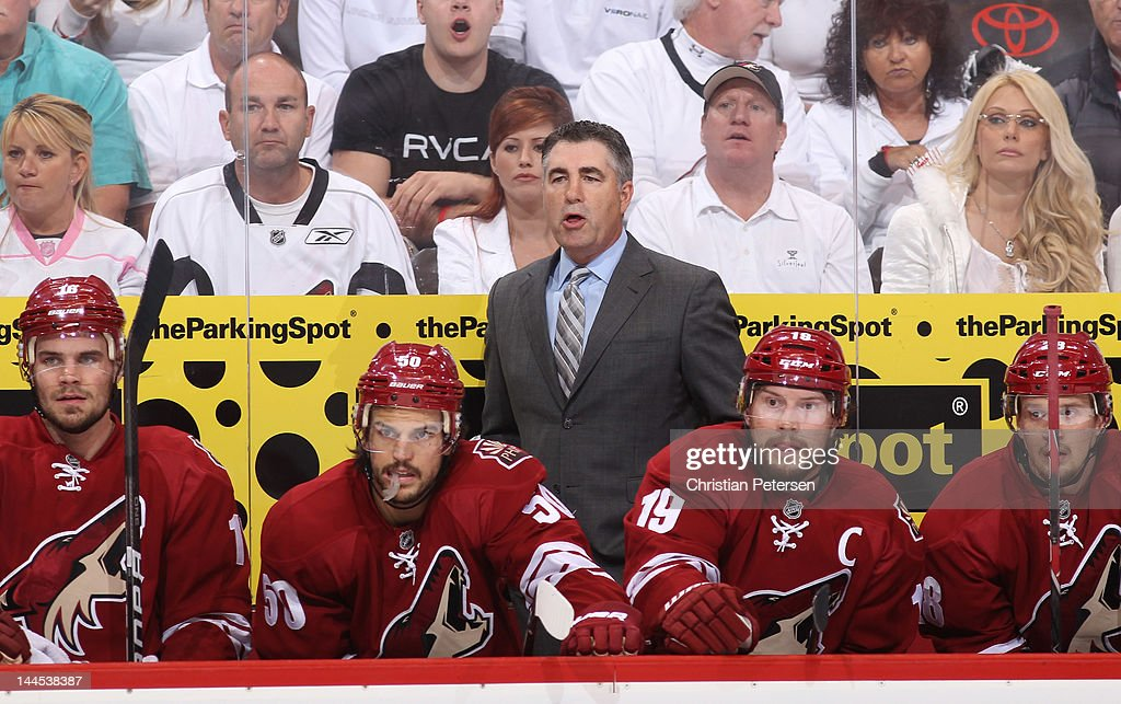Head Coach Dave Tippett of the Phoenix Coyotes looks on from the bench in the first period in Game Two of the Western Conference Final against the...