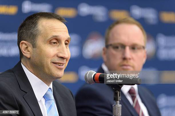 Head coach David Blatt and general manager David Griffin of the Cleveland Cavaliers answers questions during media day at Cleveland Clinic Courts on...