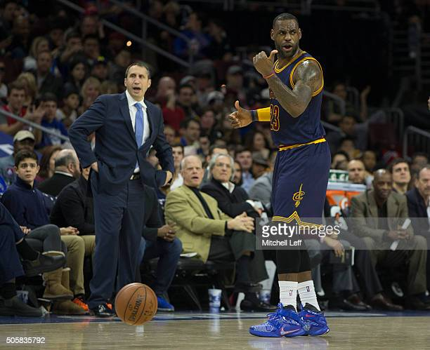 Head coach David Blatt and LeBron James of the Cleveland Cavaliers react in the game against the Philadelphia 76ers on January 10 2016 at the Wells...
