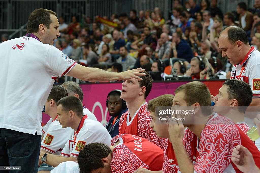 Head Coach <a gi-track='captionPersonalityLinkClicked' href=/galleries/search?phrase=David+Blatt&family=editorial&specificpeople=836616 ng-click='$event.stopPropagation()'>David Blatt</a> of Russia coaches against Spain during their Basketball Game on Day 8 of the London 2012 Olympic Games at the Olympic Park Basketball Arena on August 4, 2012 in London, England.