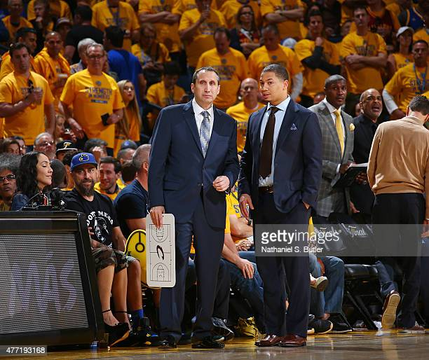 Head Coach David Blatt of the Cleveland Cavaliers and Assistant Coach Tyronn Lue of the Cleveland Cavaliers together during Game Five of the 2015 NBA...
