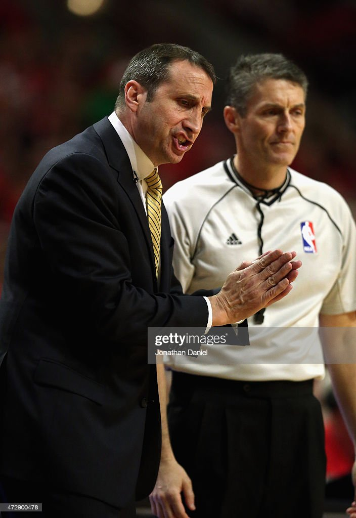 Head coach David Blatt of the Cleveland Cavaliers argues with referee Scott Foster during a game against the Chicago Bulls in Game Four of the...