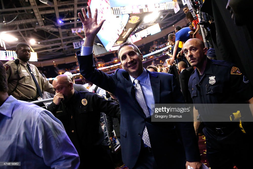 Head coach <a gi-track='captionPersonalityLinkClicked' href=/galleries/search?phrase=David+Blatt&family=editorial&specificpeople=836616 ng-click='$event.stopPropagation()'>David Blatt</a> of the Cleveland Cavaliers celebrates after defeating the Atlanta Hawks during Game Four of the Eastern Conference Finals of the 2015 NBA Playoffs at Quicken Loans Arena on May 26, 2015 in Cleveland, Ohio. The Cavaliers defeated the Hawks 118-88.