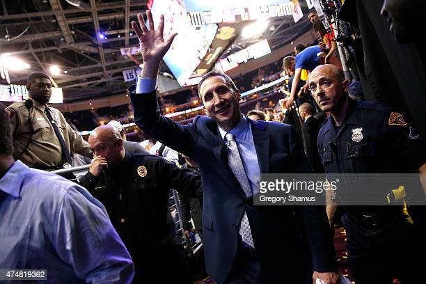 Head coach David Blatt of the Cleveland Cavaliers celebrates after defeating the Atlanta Hawks during Game Four of the Eastern Conference Finals of...