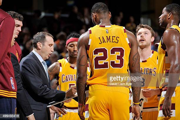 Head coach David Blatt of the Cleveland Cavaliers draws up a play during the game against the Washington Wizards on December 1 2015 at Quicken Loans...