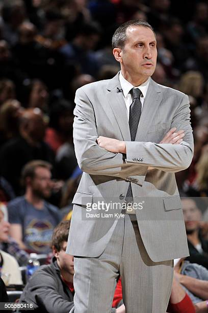 Head coach David Blatt of the Cleveland Cavaliers during the game against the Golden State Warriors on January 18 2016 at Quicken Loans Arena in...