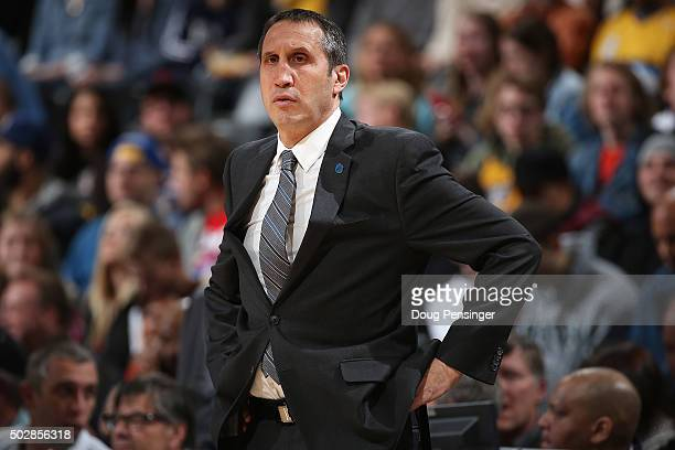 Head coach David Blatt of the Cleveland Cavaliers leads his team against the Denver Nuggets at Pepsi Center on December 29 2015 in Denver Colorado...
