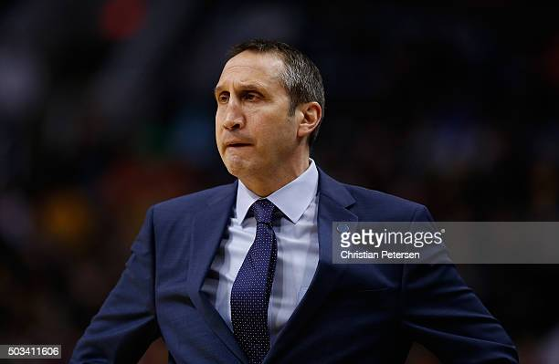 Head coach David Blatt of the Cleveland Cavaliers looks on during the NBA game against the Phoenix Suns at Talking Stick Resort Arena on December 28...