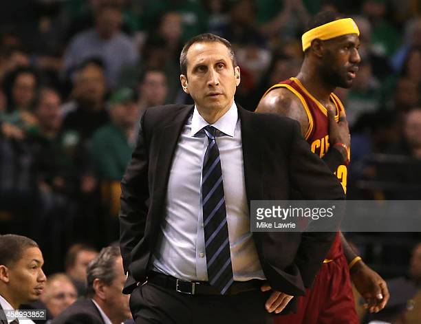 Head coach David Blatt of the Cleveland Cavaliers looks on in the first half against the Boston Celtics at TD Garden on November 14 2014 in Boston...