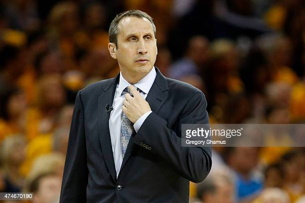 Head coach David Blatt of the Cleveland Cavaliers looks on in the first quarter against the Atlanta Hawks during Game Three of the Eastern Conference...