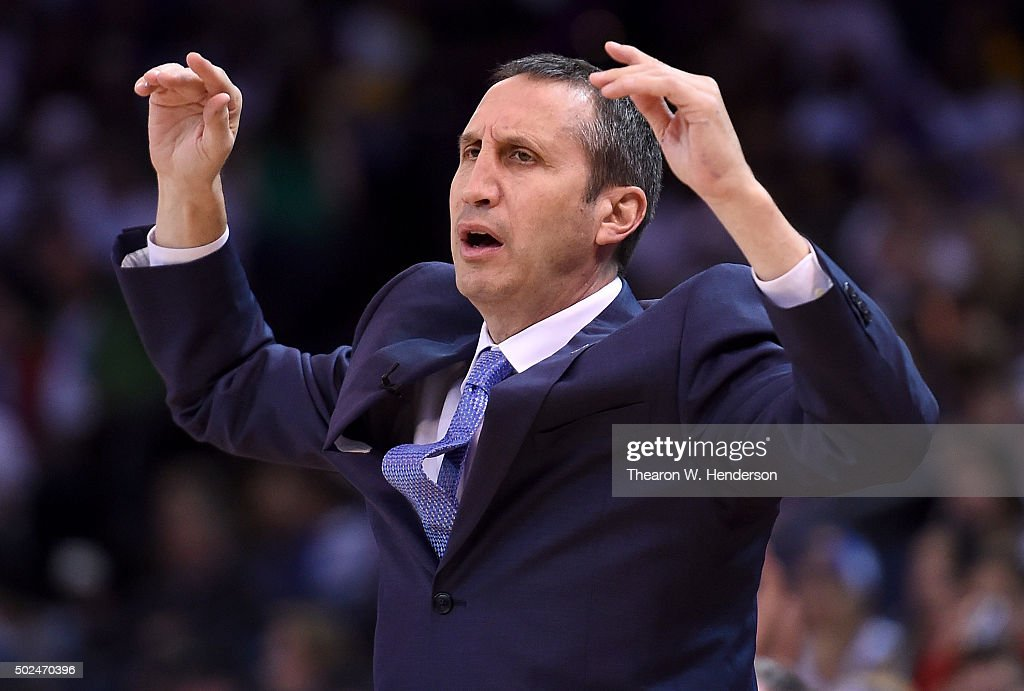 Head coach <a gi-track='captionPersonalityLinkClicked' href=/galleries/search?phrase=David+Blatt&family=editorial&specificpeople=836616 ng-click='$event.stopPropagation()'>David Blatt</a> of the Cleveland Cavaliers reacts after a call against his team while playing the Golden State Warriors in a NBA basketball game at ORACLE Arena on December 25, 2015 in Oakland, California.