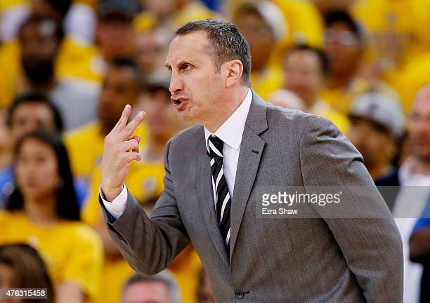 Head coach David Blatt of the Cleveland Cavaliers reacts during Game Two of the 2015 NBA Finals against the Golden State Warriors at ORACLE Arena on...