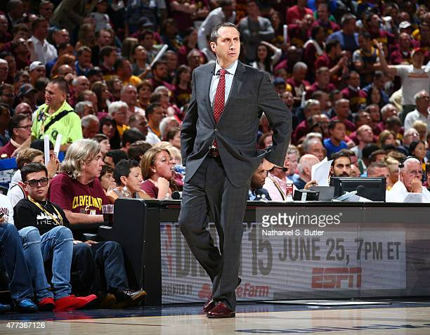 Head Coach David Blatt of the Cleveland Cavaliers reacts during Game Six of the 2015 NBA Finals at The Quicken Loans Arena on June 16 2015 in...