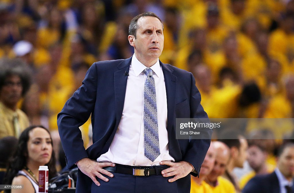 Head coach <a gi-track='captionPersonalityLinkClicked' href=/galleries/search?phrase=David+Blatt&family=editorial&specificpeople=836616 ng-click='$event.stopPropagation()'>David Blatt</a> of the Cleveland Cavaliers reacts in the first quarter against the Golden State Warriors during Game Five of the 2015 NBA Finals at ORACLE Arena on June 14, 2015 in Oakland, California.
