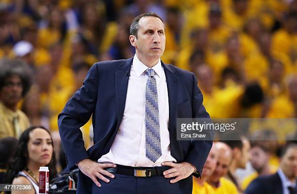 Head coach David Blatt of the Cleveland Cavaliers reacts in the first quarter against the Golden State Warriors during Game Five of the 2015 NBA...