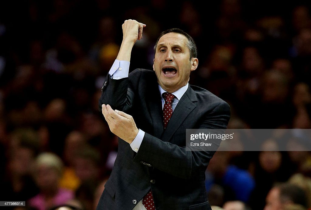 Head coach <a gi-track='captionPersonalityLinkClicked' href=/galleries/search?phrase=David+Blatt&family=editorial&specificpeople=836616 ng-click='$event.stopPropagation()'>David Blatt</a> of the Cleveland Cavaliers reacts in the first quarter against the Golden State Warriors during Game Six of the 2015 NBA Finals at Quicken Loans Arena on June 16, 2015 in Cleveland, Ohio.
