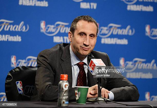 Head coach David Blatt of the Cleveland Cavaliers speaks to the media prior to Game Six of the 2015 NBA Finals against the Golden State Warriors at...