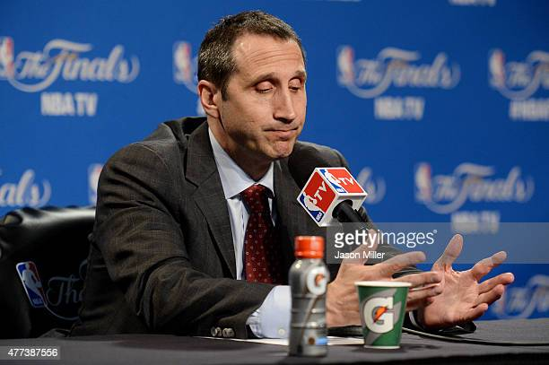 Head coach David Blatt of the Cleveland Cavaliers speaks to the media after their loss to the Golden State Warriors in Game Six of the 2015 NBA...