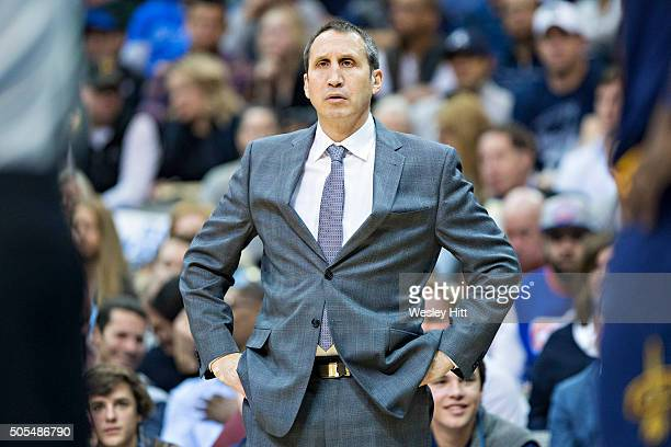 Head Coach David Blatt of the Cleveland Cavaliers watches his team during a game against the Dallas Mavericks at American Airlines Center on January...