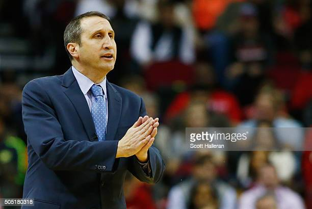 Head coach David Blatt of the Cleveland Cavaliers watches the play on the court during their game against the Houston Rockets at the Toyota Center on...