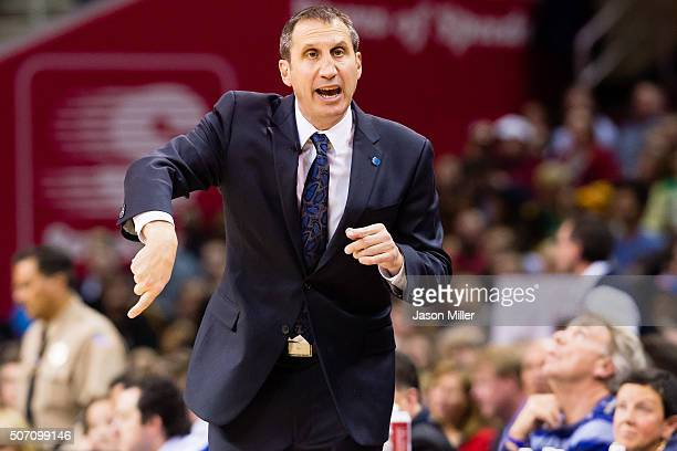 Head coach David Blatt of the Cleveland Cavaliers yells to his team during the second half against the Los Angeles Clippers at Quicken Loans Arena on...
