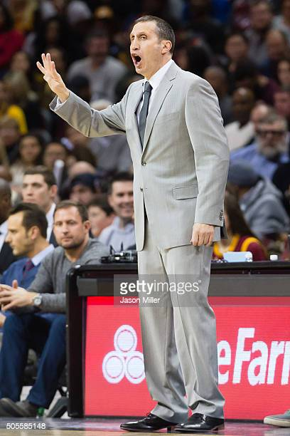 Head coach David Blatt of the Cleveland Cavaliers yells to his players during the first half at Quicken Loans Arena on January 18 2016 in Cleveland...