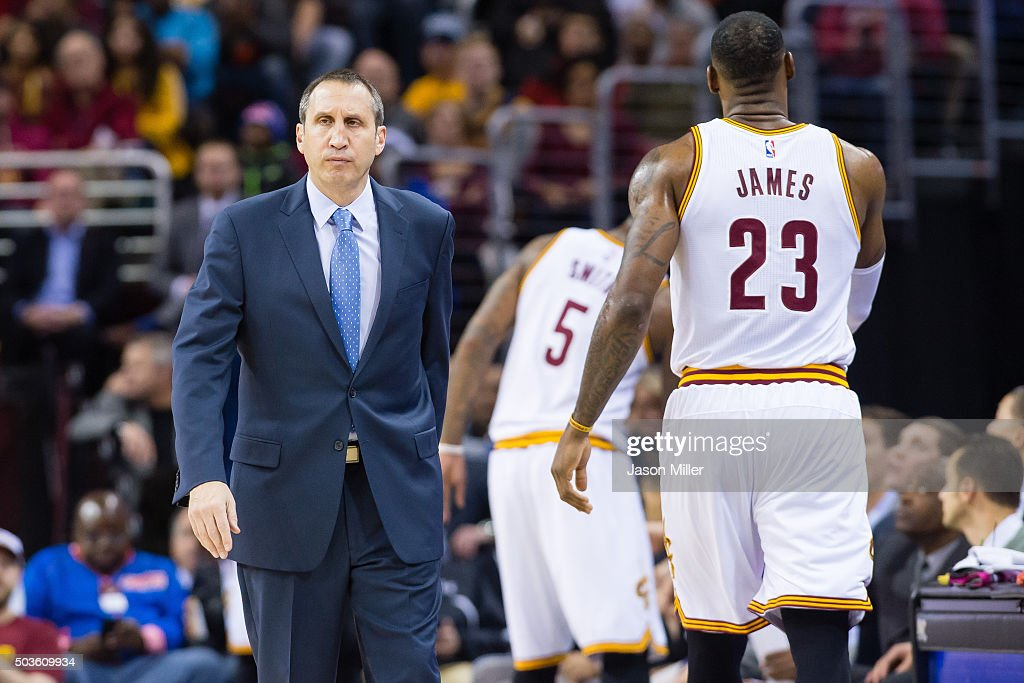 Head coach <a gi-track='captionPersonalityLinkClicked' href=/galleries/search?phrase=David+Blatt&family=editorial&specificpeople=836616 ng-click='$event.stopPropagation()'>David Blatt</a> reacts as <a gi-track='captionPersonalityLinkClicked' href=/galleries/search?phrase=LeBron+James&family=editorial&specificpeople=201474 ng-click='$event.stopPropagation()'>LeBron James</a> #23 of the Cleveland Cavaliers leaves the game during the first half against the Toronto Raptors at Quicken Loans Arena on January 4, 2016 in Cleveland, Ohio.