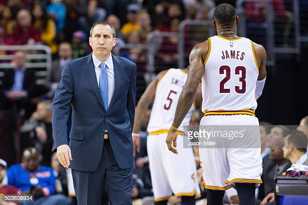Head coach David Blatt reacts as LeBron James of the Cleveland Cavaliers leaves the game during the first half against the Toronto Raptors at Quicken...