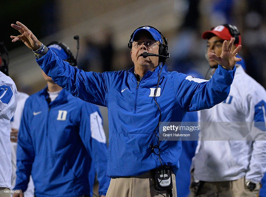 Head coach <a gi-track='captionPersonalityLinkClicked' href=/galleries/search?phrase=David+Cutcliffe&family=editorial&specificpeople=3265998 ng-click='$event.stopPropagation()'>David Cutcliffe</a> of the Duke Blue Devils directs his team during their game against the Miami Hurricanes at Wallace Wade Stadium on October 31, 2015 in Durham, North Carolina. Miami won 30-27 on a last-second touchdown.