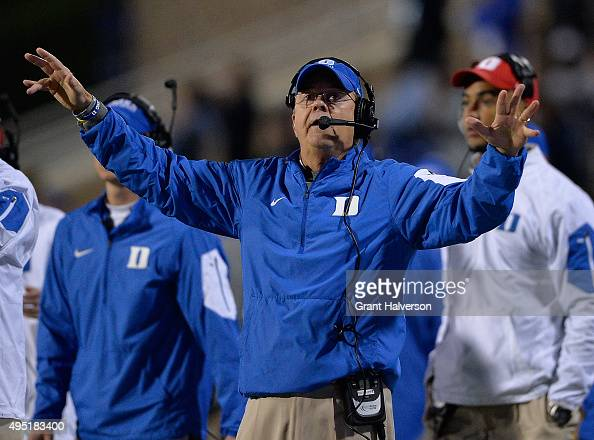 Head coach David Cutcliffe of the Duke Blue Devils directs his team during their game against the Miami Hurricanes at Wallace Wade Stadium on October...