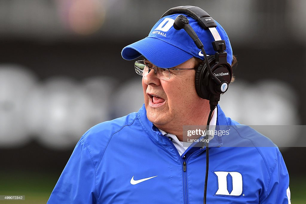 Head Coach <a gi-track='captionPersonalityLinkClicked' href=/galleries/search?phrase=David+Cutcliffe&family=editorial&specificpeople=3265998 ng-click='$event.stopPropagation()'>David Cutcliffe</a> of the Duke Blue Devils looks on during their game against the Wake Forest Demon Deacons at BB&T Field on November 28, 2015 in Winston-Salem, North Carolina. Duke defeated Wake Forest 27-21.